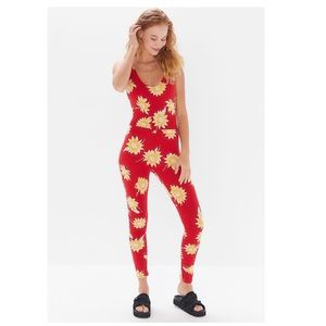 UO Motel Red Sunflower Scoop Back Jumpsuit